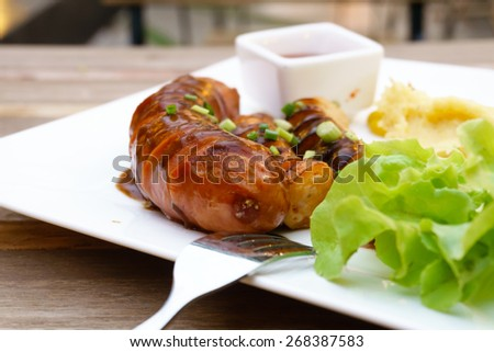 Mix grilled sausage - stock photo