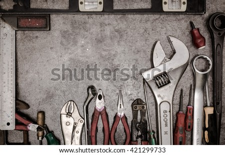 Mix maintenance tools on old metal table, chrome vanadium and chrome molybdenum are coating method - stock photo