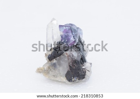 Mix mineral by nature, Tourmaline, fluorite and quartz - stock photo