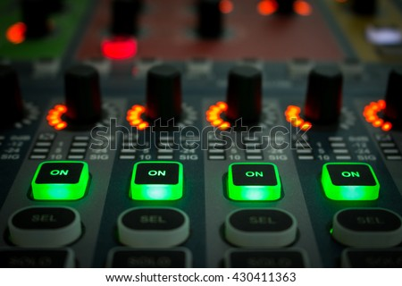 mix,mixer,frequency ,Mixer,Control of high-quality audio and equalizer volume on the mixer..on work 4 CH - stock photo
