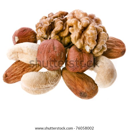 mix nuts isolated on white background - stock photo