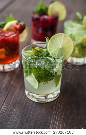 Mix of a different mojitos - stock photo