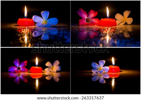 Mix of candle and flower on wet floor - stock photo