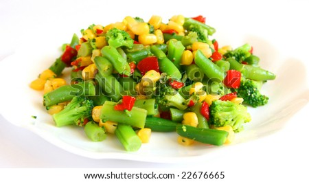 Mix of cooked vegetable - stock photo