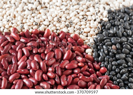 Mix of dried beans: kidney beans, black-eyed beans and black lentils (vigna mungo). - stock photo