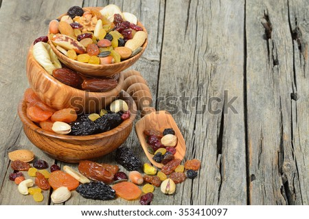 Mix of dried fruits and nuts in a wooden bowl - symbols of judaic holiday Tu Bishvat. Copyspace background. - stock photo