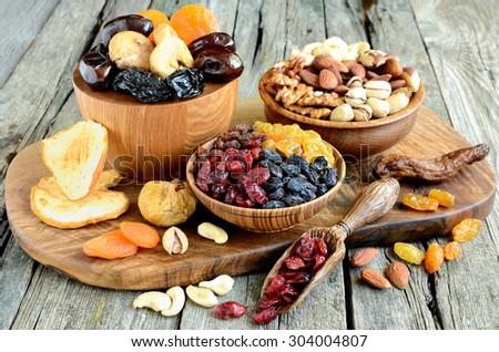 Mix of dried fruits and nuts - symbols of judaic holiday Tu Bishvat - stock photo
