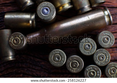 Mix of empty bullets  - stock photo