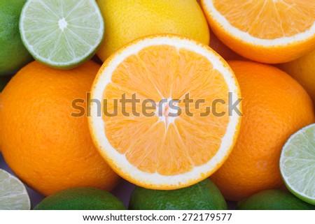 Mix of fresh citrus fruits - stock photo