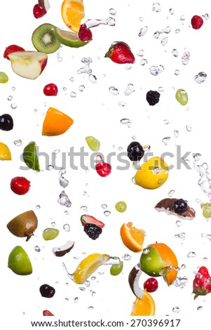 Mix of fruit with water splashes isolated on white background - stock photo