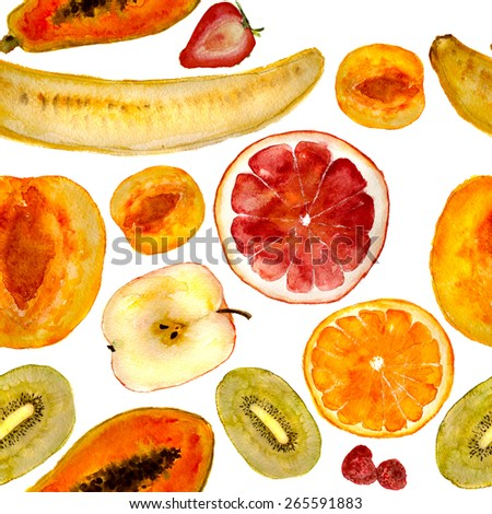 Mix of fruits: banana, grapefruit, orange, apple, peach, mango, kiwi, strawberry, raspberry. Square for seamless pattern. Hand-painted in watercolor. - stock photo