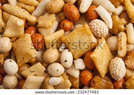 Mix of japanese rice nuts for background use - stock photo