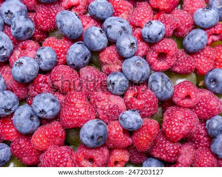 Mix of juicy and ripe raspberries and cowberries - stock photo