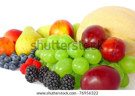 Mix of juicy fruit  isolated on white - stock photo