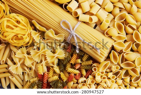 Mix of pasta, close up - stock photo