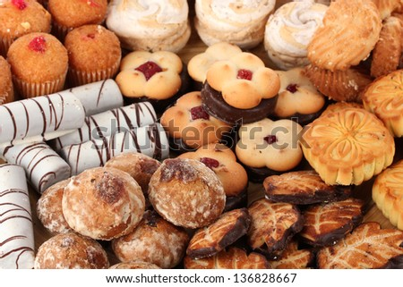 Mix of sweet cookies close-up - stock photo
