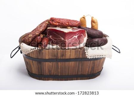 Mix of tradicional Portuguese food on a basket - stock photo