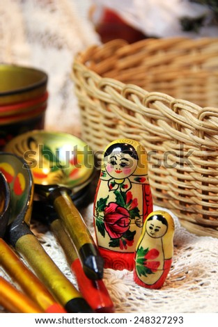 Mix of traditional Russian Souvenirs and antique objects  - stock photo