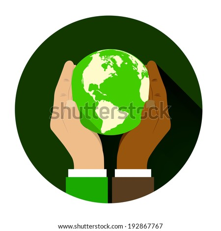 mix of two different races holding hands globe. The concept of friendship among peoples and racial equality - stock photo