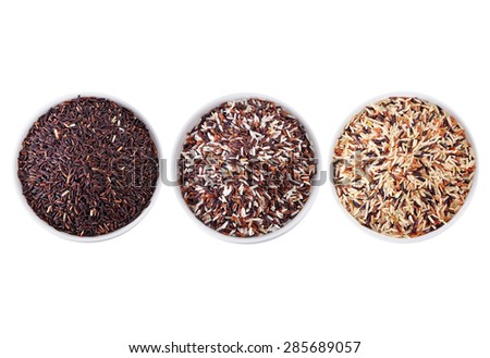 mix rice red brown white isolate - stock photo