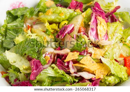 mix salad corn chips in a white bowl - stock photo