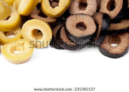 Mix sliced green and black olives isolated on the white background - stock photo
