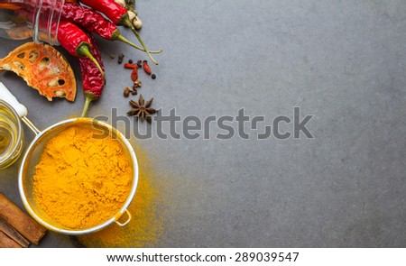 Mix spices and herb background for decorate design. - stock photo