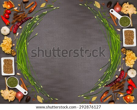 Mix spices and herb for health on background and design. - stock photo