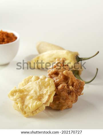 Mix Vegetable Pakoras, Pakoda, Bhajiya, India - stock photo