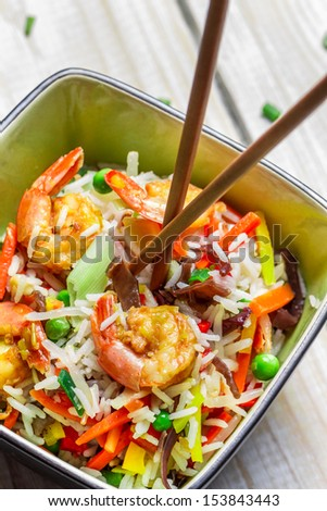 Mix vegetables with rice and shrimp - stock photo