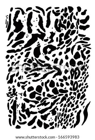 MIXED ANIMAL SKIN TEXTURE ON WHITE BACKGROUND - stock photo