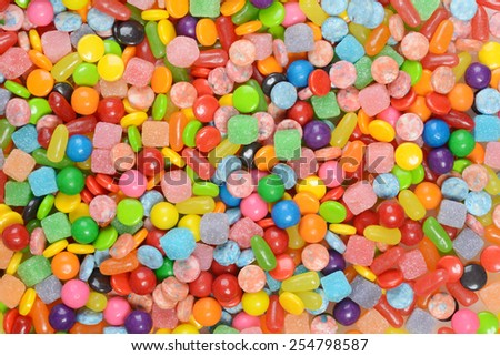 mixed candy background - stock photo
