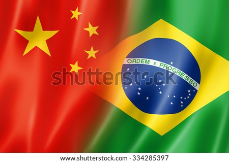 Mixed China and Brazil flag, three dimensional render, illustration - stock photo