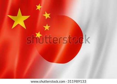 Mixed China and Japan flag, three dimensional render, illustration - stock photo