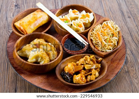 mixed chinese food - stock photo