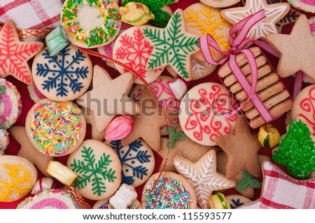 Mixed Christmas cookies /// Colorful mix of Christmas-themed decorated cookies - stock photo