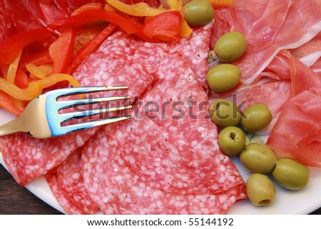 mixed cold cuts - stock photo