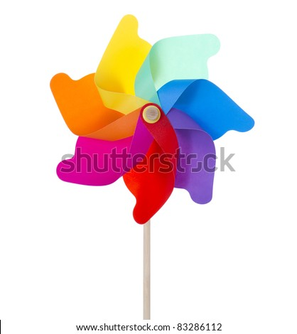 Mixed color Pinwheel, toy fan isolated on white/Flowers pinwheel isolated on white (XXXLarge)/Pinwheel isolated on white - stock photo