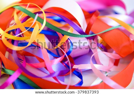Mixed colored satin ribbons. background from colorful ribbon - stock photo