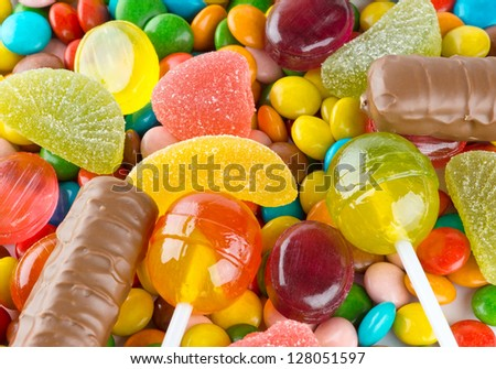 Mixed colorful candies background - stock photo