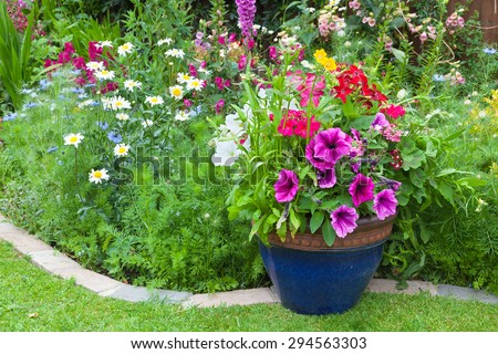 Mixed colorful flowers in a  plant border - stock photo