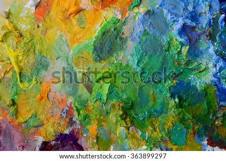 Mixed colorful of oil color paint  - stock photo
