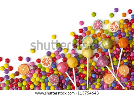Mixed colorful sweets close up - stock photo