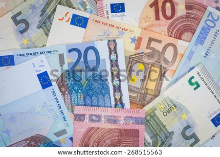 Mixed Euro Currency Notes Background  - stock photo