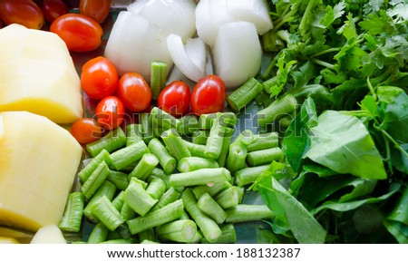 mixed fresh vegetables background-close up - stock photo