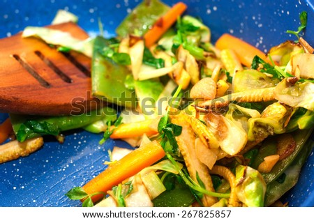 Mixed fresh vegetables in a skillet - stock photo
