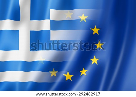 Mixed Greek and european Union flag, 3D illustration - stock photo