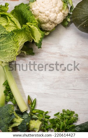 mixed  green vegetables background - stock photo