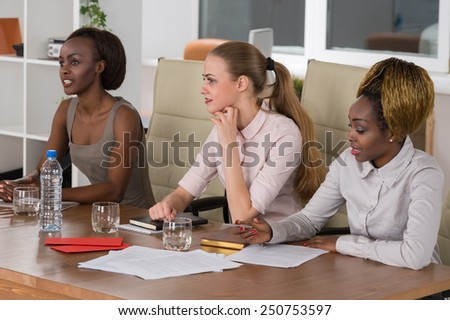 Mixed group in business meeting women only  - stock photo