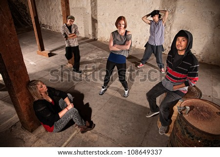 Mixed group of cool hip hop dancers - stock photo